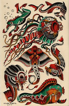 sea creature sheet by Kyler Martz Traditional Tattoo Old School, Traditional Tattoo Design, Traditional Tattoo Flash, Traditional Tattoo Patterns, Flash Art Tattoos, Body Art Tattoos, Hand Tattoos, Simbols Tattoo, Tattoo Drawings