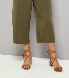 Tan Suede Tie Up Mini Block Heels | New Look