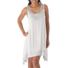 Crochet Yoke Trim Dress   muito lindo  e delicado