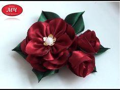 Мастер класс цветка с бутонами. Канзаши. Цветы из лент. DIY Flower with buds - YouTube