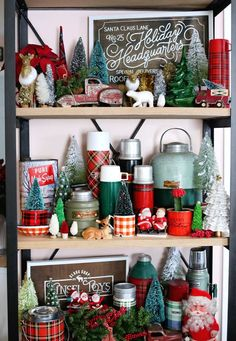 Vintage Inspired Christmas Vignette Vintage Inspired Christmas Vignette filled with collectibles and treasures, thermos', vintage santas, wool blankets, hand painted signs and more! Christmas Booth, Christmas Kitchen, Christmas Vignette, Country Christmas, Christmas Holidays, Christmas Ideas, Christmas Displays, Christmas Christmas, Holiday Ideas