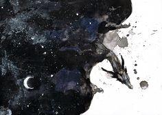 The Nightspirit by branka42.deviantart.com on @deviantART Dragon coming out of a night sky