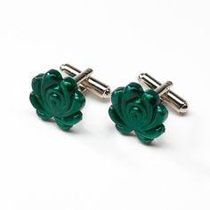 Lokalwear - Matyo Flower Cuff Links - Metalic Green ($49) ❤ liked on Polyvore
