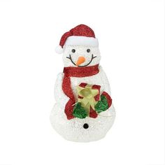 "23"" Lighted White Plush Glittered Snowman with Tinsel Gift Yard Art"