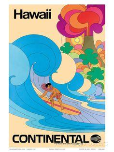 Continental Hawaii Surfer c.1960's Prints at AllPosters.com