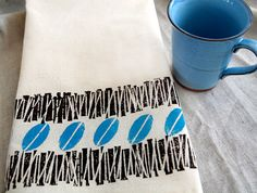 Coffee Bean hand printed cotton tea towel  retro by Corydora, $14.00