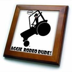 """AGGIE RODEO DUDE image 1 - 8x8 Framed Tile by Mark Grace SCREAMNJIMMY. $22.99. Keyhole in the back of frame allows for easy hanging.. Cherry Finish. Solid wood frame. Inset high gloss 6"""" x 6"""" ceramic tile.. Dimensions: 8"""" H x 8"""" W x 1/2"""" D. AGGIE RODEO DUDE image 1 Framed Tile is 8"""" x 8"""" with a 6"""" x 6"""" high gloss inset ceramic tile, surrounded by a solid wood frame with predrilled keyhole for easy wall mounting.. Save 15% Off!"""