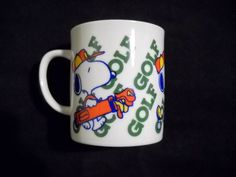 Vintage Snoopy Golf Mug Peanuts Woodstock Sports Golfer Coffee Cup #UnitedFeaturesSyndicate