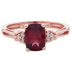 Womens Diamond Accent Red Rhodolite 14K Gold Cocktail Ring (£595) ❤ liked on Polyvore featuring jewelry, rings, accessories, 14k yellow gold ring, red gold ring, 14k ring, diamond accent rings and red gold jewelry