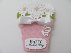 Mother's Day Card Flower Pot Cards MomHappy by SassyScrapsCrafts