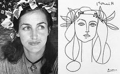 Photograph of Françoise Gilot and portrait of Gilot by Pablo Picasso.