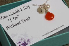 Briddesmaid Gift Set with Card.Sterling Silver Personalized Necklace.Gemstone Initial Briedsmaid Gift with Card.Red Carnelian Gemstone. by rainbowearring on Etsy https://www.etsy.com/listing/153282032/briddesmaid-gift-set-with-cardsterling