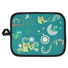 new at @CafePress : #Night #Owls #Potholder Cute colorful night Owls, #moons and flowers! The Background is #turquoise and decorated with swirls! Artwork by http://www.etsy.com/de/people/Prettygrafik  $9.19