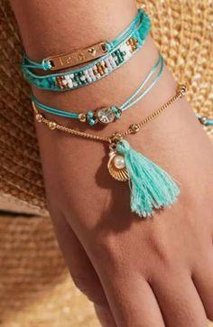 Vintage Bohemian Pom Pom Fabric Wrapped Bangle Stacking Bracelets Set of 3 Fun and Whimsical!