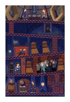 jeandrawsstuff: My painting based on one of my favorite Who episodes, 'Journey's End' for the Doctor Who art show at Meltdown Comics! Doctor Who 10, Ninth Doctor, Journey's End, Dalek, Blue Box, Dr Who, Superwholock, Tardis, Geek Stuff