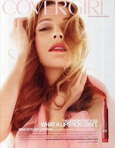 Drew Barrymore 2009 Ad Make-up Cover Girl Lipstick Outlast Photo Illustration