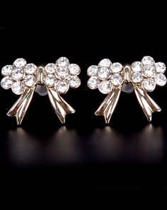 Gold Diamond Bow Stud Earrings - Sheinside.com. Redecorate online in one day with noneed2buy.com using your furniture and accessories.