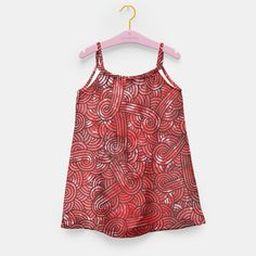 """""""Red and black zentangles"""" Girl's Dress by Savousepate on Live Heroes #kidsapparel #kidsclothing #pattern #graphic #modern #abstract #doodles #zentangles #scrolls #spirals #arabesques #red #black"""