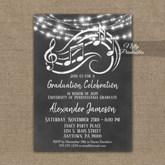 Graduation Party Invitation Music Chalkboard Lights PRINTED – Nifty Printables – Invitation Ideas for 2020 Retirement Invitations, Graduation Party Invitations, Music Themed Parties, Music Party, Theme Parties, Holiday Party Themes, Party Ideas, Graduation Celebration, Graduation Ideas