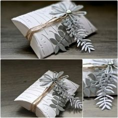 Pillowbox with greenery - silver white grey