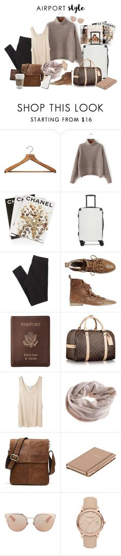 """""""Airport Style"""" by desbuchman ❤ liked on Polyvore featuring PERIGOT, Assouline Publishing, CalPak, American Eagle Outfitters, Toast, Royce Leather, Base Range, Kate Spade, Christian Dior and Burberry"""