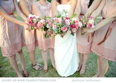 #Pastel pink wedding ... Light & Lacy ... Romantic pink bridesmaid dresses