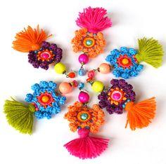 large tassel earrings, colorful festival earrings, bold fringe earrings, neon earrings, mexican earrings, gipsy earrings, crochet jewelry