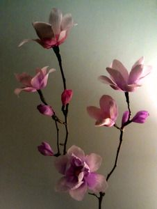 Crepe-Paper Magnolia Blossoms. A great craft project for spring. The video tutorial and PDF template for these realistic flowers can be found here: http://www.marthastewart.com/898414/crepe-paper-magnolia-flowers