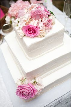 White 3-tier square wedding cake decorated with pink roses {Pink & White Southern Shabby Chic Wedding from Style by Design + Dana Duncan Photography}