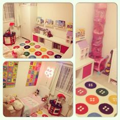 A reader, Victoria, shared this collage of photos of her daughter's room.    She used basic storage solutions including a stuffed animal chute, hinged