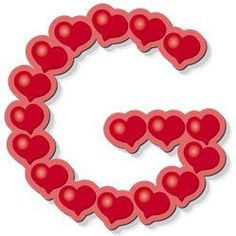 Abecedario con corazones. Letra G mayúscula.