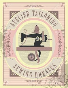 Vector Illustration Retro Poster Sewing Studio Tailoring Depicts.. Royalty Free…