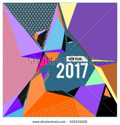 Happy New Year 2017 background. Calendar cover template. Colorful Modern memphis & geometric style background. Greeting card vector illustration.