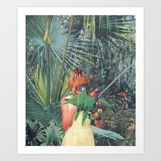 collage, jungle, leaves, parrot, magazine, vintage