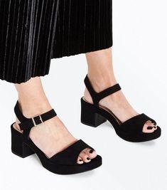 f6424b44d9b Wide Fit Black Suedette Platform Mid Heel Sandals