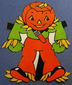 1950s Vintage Die Cut Halloween Decoration JOL Scarecrow Jack o' Lantern