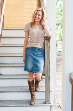 What To Wear To An Early Fall Football Game: Denim Skirt and Cowboy Boots