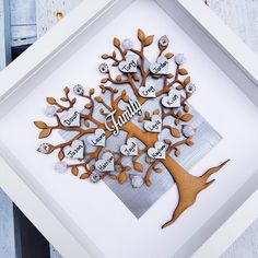 Family tree | family keepsake frame | home decor family decor | wall hanging | personalised hearts | wedding gift | Father's Day picture