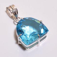 Faceted Swiss Blue Topaz  .925 Silver Handmade Pendant Jewelry JB525 #Handmade