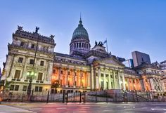 Argentina National Congress building facade on sunset, Buenos Aires Congress Building, Building Facade, Best Places To Retire, Best Places To Travel, History Of Argentina, Visit Argentina, Tango, Round The World Trip, South America Travel
