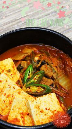 Jjigae with Pork Kimchi Jjigae with Pork : The Best Kimchi Jjigae Recipe. - Asian at HomeKimchi Jjigae with Pork : The Best Kimchi Jjigae Recipe. - Asian at Home Lettuce Wrap Recipes, Chicken Salad Recipes, Pork Recipes, Asian Recipes, Cooking Recipes, Jjigae Recipe, Bulgogi Recipe, Simple Beef Curry, Kitchen