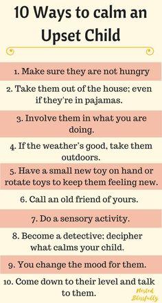 10 ways to calm an upset child #ParentingArt
