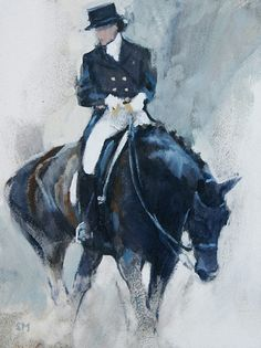 After the Test by Sally Martin || equestrian equine cheval pferde caballo | black dressage walking art | cheval noir