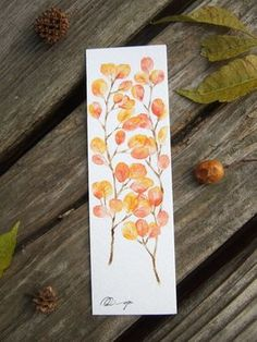 Red leaves, watercolor painting, bookmark. Facebook: https://m.facebook.com/ringo.handpainter/