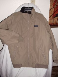 Lands' End men's Tall XL (46-48) fleece lined jacket. Tan/ black. #LandsEnd #FleeceJacket