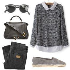 Grey Contrast Lapel Long Sleeve Tweed Blouse