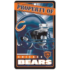 Chicago Bears NFL Property Of Plastic Sign