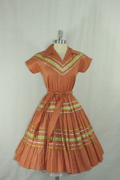 1960s Vintage Patio Dress   Squaw Cotton Voile Circle Skirt Rockabilly Dress    38 / 32 / Full