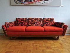 Adrian Pearsall Style Sofa with Sculpted Walnut Base.  I would redo this but I love the architecture of it.