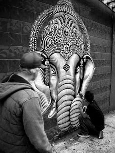 Amazin Urban Art Work - Eastern philosophy, gods of Buddhist origin, faces of Gandhi, ornately decorated hands, varying versions of the elephant-headed deity Ganesha of the Hindu pantheon by Cryptik